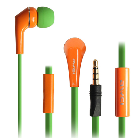 Awei Q7i Oranje Groene Headset Apple iPhone 6, 5, 4, 3 en iPad