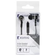 Headset Platte Kabel In-Ear 3.5 mm Ingebouwde Microfoon Zwart