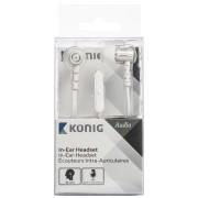 Headset Platte Kabel In-Ear 3.5 mm Ingebouwde Microfoon Wit