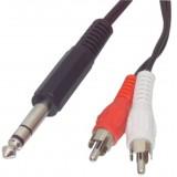 Audio / video kabel 6.35mm jack stereo steker - 2 tu