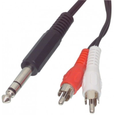 Audio / video kabel 6.35mm jack stereo steker - 2 tulp stekers 1,50 m
