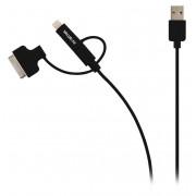 3-in-1 Data en Oplaadkabel USB Micro-B Male + Dockadapter + Lightningadapter - A Male 1.00 m Zwart