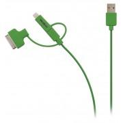 3-in-1 Data en Oplaadkabel USB Micro-B Male + Dockadapter + Lightningadapter - A Male 1.00 m Groen