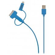 3-in-1 Data en Oplaadkabel USB Micro-B Male + Dockadapter + Lightningadapter - A Male 1.00 m Blauw