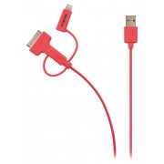 3-in-1 Data en Oplaadkabel USB Micro-B Male + Dockadapter + Lightningadapter - A Male 1.00 m Rood