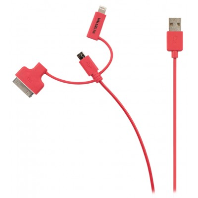 Micro usb, lightning, 30pins kabel Apple Rood