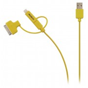 3-in-1 Data en Oplaadkabel USB Micro-B Male + Dockadapter + Lightningadapter - A Male 1.00 m Geel