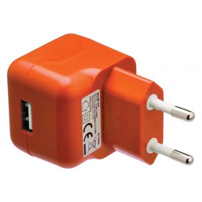 USB-lader USB A female - AC-huisaansluiting oranje
