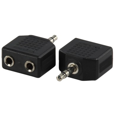 Stereo-Audio-Adapter 3.5 mm Male - 2x 3.5 mm Female Zwart