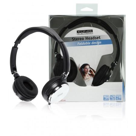 Headset Opvouwbaar On-Ear 2x 3.5 mm Ingebouwde Microfoon Zwart