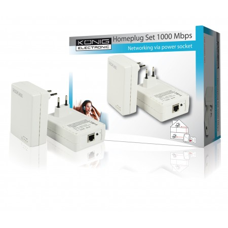 Homeplugset wit 1000 Mbps