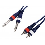 Stereo Audiokabel 2x 6.35 mm Male - 2x RCA Male 6.00