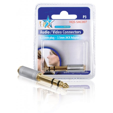 Stereo-Audio-Adapter 6.35 mm Male - 3.5 mm Female Zilver