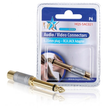 Stereo-Audio-Adapter 6.35 mm Male - RCA Female Zilver