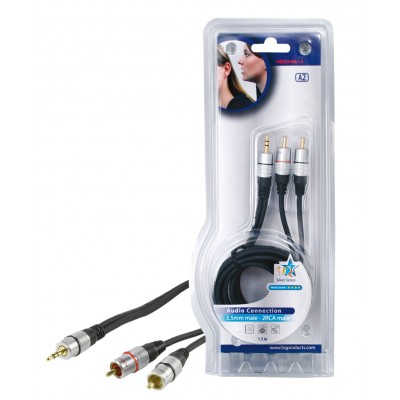 Stereo Audiokabel 3.5 mm Male - 2x RCA Male 1.50 m Donkergrijs