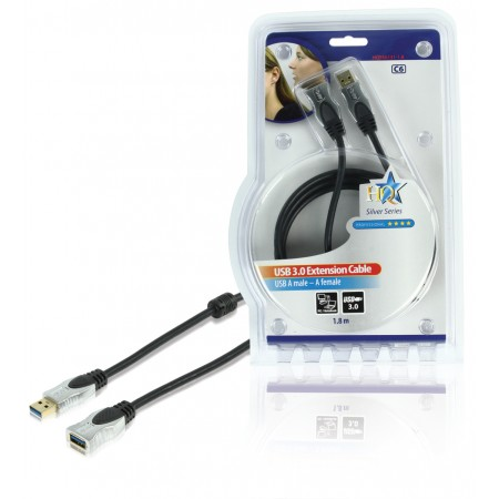 USB 3.0 Verlengkabel A Male - A Female Rond 1.80 m Donkergrijs