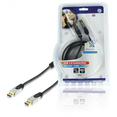 USB 3.0 Kabel A Male - A Male Rond 1.80 m Donkergrijs