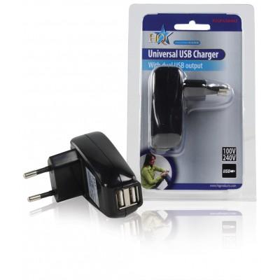 Lader 2 - Uitgangen 1.0 A USB Zwart