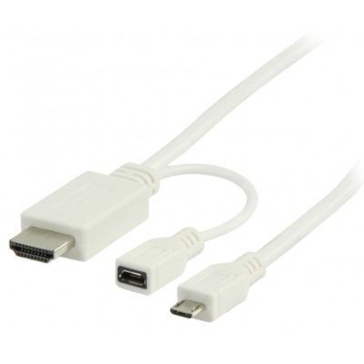 5 pins MHL Micro usb to HDMI + micro usb B 1 meter kabel wit