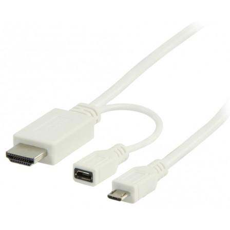 5 pins MHL Micro usb to HDMI + micro usb B 1 meter kabel wit