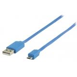 USB 2.0 Kabel A Male - Micro-B Male Plat 1.00 m Blau