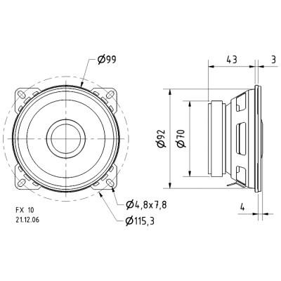 """2-weg coaxiale luidspreker 10 cm (4"""") 4 Ohm"""